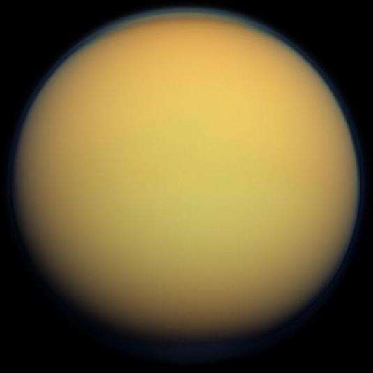 Titan in true color (Image courtesy of NASA)