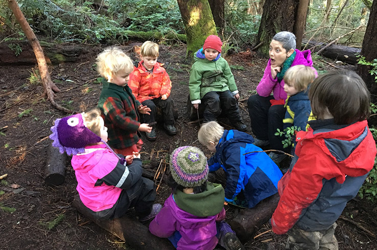 A forest school in action. Photo (CC BY-SA): Karen Olsen/Cedarsong Nature School