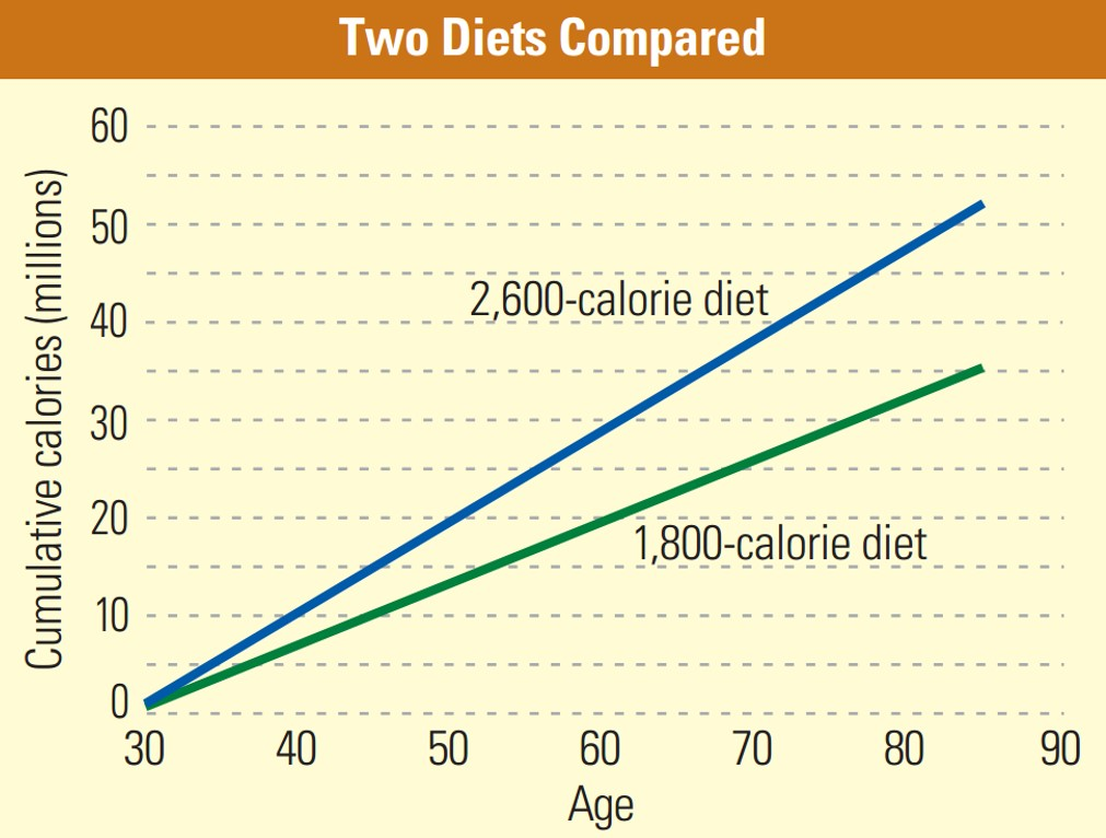 Caption: As this figure shows, a person eating 1800-calories a day starting at age 30 would be able to live 20 more years (to age 85) than a person eating 2600-calories a day before starting to consume more total calories.